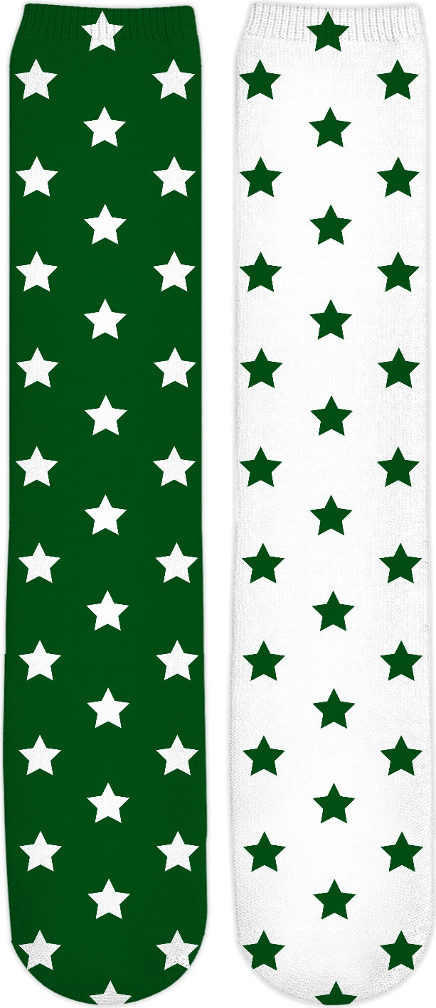 Green & White Split Stars Knee High Socks
