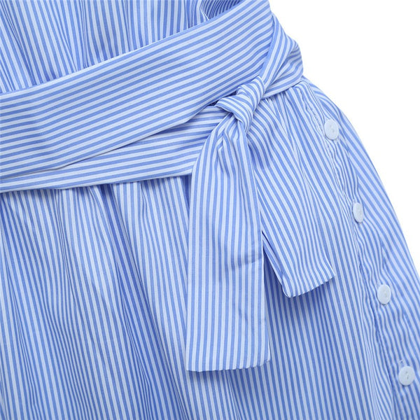 Sexy Elegant Half Sleeve Blue Striped Women Shirt Dress