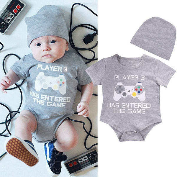 Cute Infant Newborn Baby Boy Girl Romper+Hat Bodysuit Jumpsuit Clothes Outfits 0-24Months