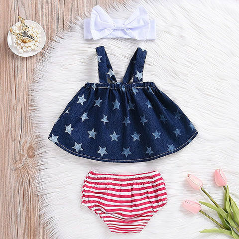 Baby Girls USA Flag Romper Pant 4th of July Independence Day Outfits Clothes