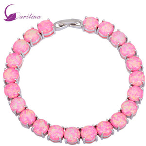 Silver Pink Fire Opal Bracelets bangles for teen girls pulseiras femininas 19.5cm 7.67 inch B433 (Size: 195 mm, Color: Pink)