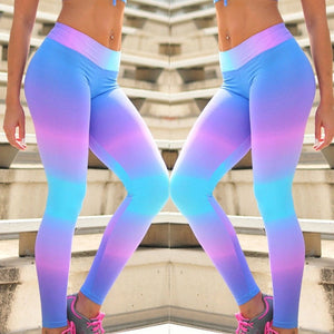 Womens YOGA Gym Fitness Sports Stretch Running Leggings Athletic Colorful Pants