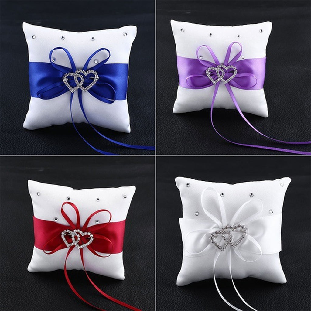 Double Heart Crystal Ring Bearer Pillow Cushion