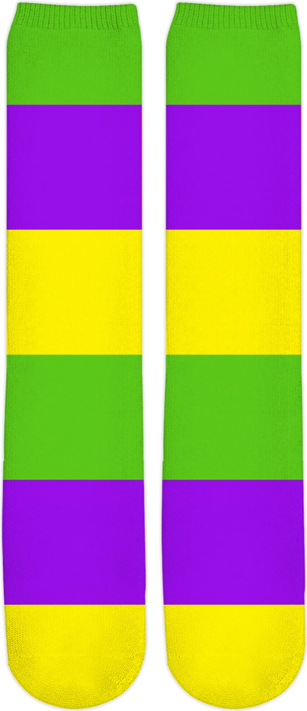 Mardi Gras Stripes Knee High Socks