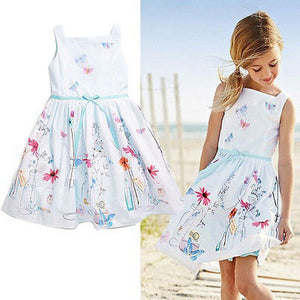 2016 new Hot Baby Kids Girls floral print summer dress costume Fashion casual Princess Gown Dresses children's clothes