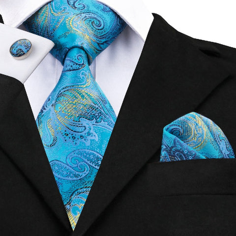 Mens Necktie Jacquard Silk Tie Blue Paisley Hanky Cufflinks for Business Wedding Party