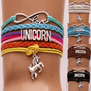 Fashion Antique Silver Infinity Love Charm Unicorn Horse Pendant Leather Bracelets for Women Party Unicorn Theme Jewelry Gifts