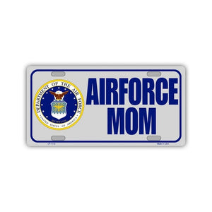"Novelty Metal License Plate Tag Cover - Airforce Mom, United States Air Force - 12"" x 6"""