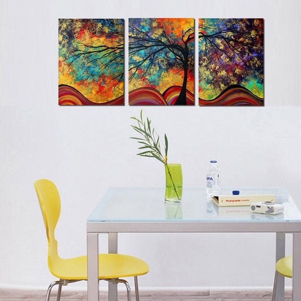 Large Wall Art Abstract Tree Painting Colorful Landscape Paintings Canvas Picture For Home Decoration