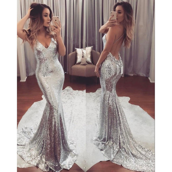 Fashion Women's Sequin Mermaid Long Evening Formal Party Ball Prom Gown Dress