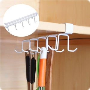 Koreanx® Home Kitchen Double Row Metal Storage Rack Cupboard Hanging Hook Hanger Storage Organizer Holder  (Color: White)