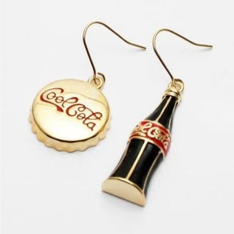 2Pcs/set Creative Coca Bottle and Bottle Cap Asymmetric Earring For Women Girls (Color: Gold)