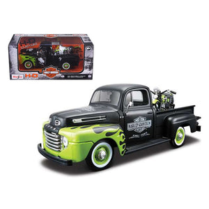 1948 Ford F-1 Pickup Truck Harley Davidson With 1948 FL Panhead Motorcycle Black/Green 1/24 by Maisto - Hoot & Nanny
