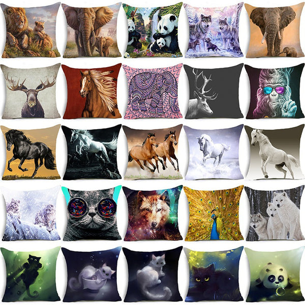 Warm Family Lion Pattern Polyester Pillowcase Pillow Cover 18 Inch Sofa Waist Square Cushion Cover
