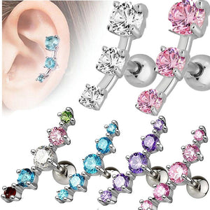 316L Surgical Steel Triple CZ Tragus Cartilage Ear Ring Piercing Stud Jewellery 1pcs