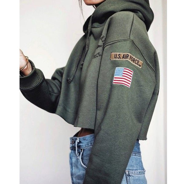 3 Colors Fashion Women Autumn Tops Casual Cotton Sweatshirts Armygreen Girls Sexy Long Sleeve Cropped Hoodie Airforce Print Drwa