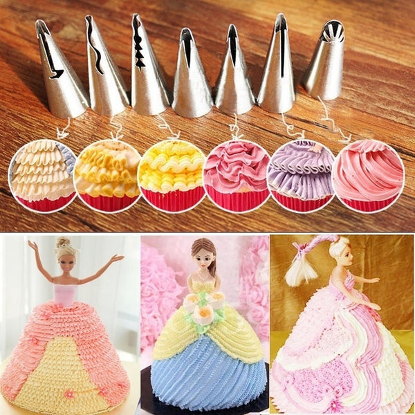 7x Icing Nozzles Baking Cake Cookie Tips Cupcake Piping Creative Decorative  WZH