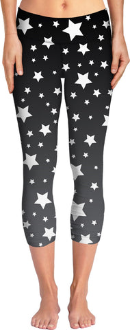 White Stars Grey Ombre Yoga Pants