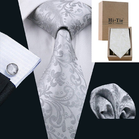 20 Styles Classic Men's Tie Jacquard Woven Silk Necktie Silver Handkerchief Cufflinks for Business Wedding Party with Gift Box