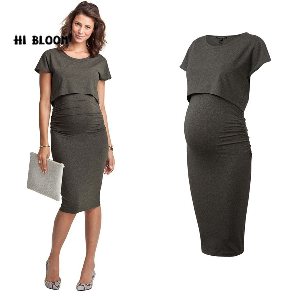 Elastic Summer Elegant Maternity Dresses Pregnancy Nursing Dress for Pregnant Women