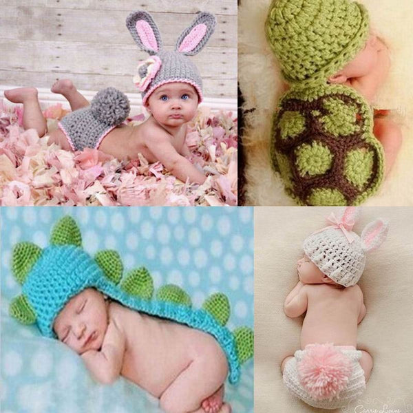 Handmade knitted outfits newborn infant baby boys Girls Animal Costume Crochet Clothing Sets Beanie cap shorts photography props