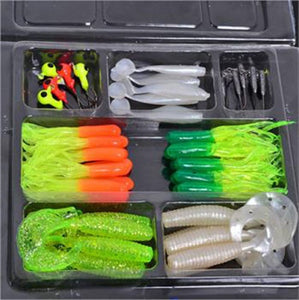 Fishing Lures Set Soft Bait Hooks Tackle (35pcs Soft Bait & 10pcs Fishing Hooks) (Color: Multicolor)