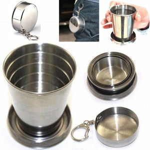 75ml Outdoor Foldable Mini Stainless Steel Portable Mug Travel Collapsible Telescopic Cup Pocket Folding Cup