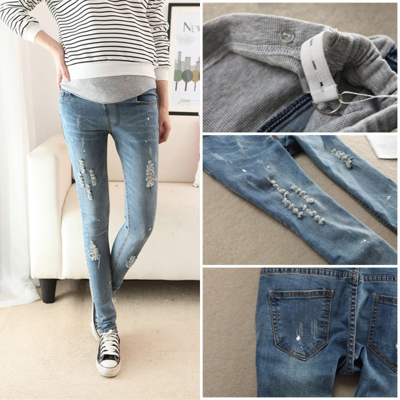 Maternity Pencil Hole Jeans