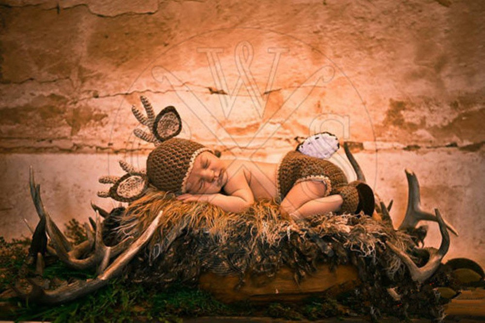 Baby Girls Boys Crochet Knitted Costume Deer Hat Diaper Photography Prop Outfit