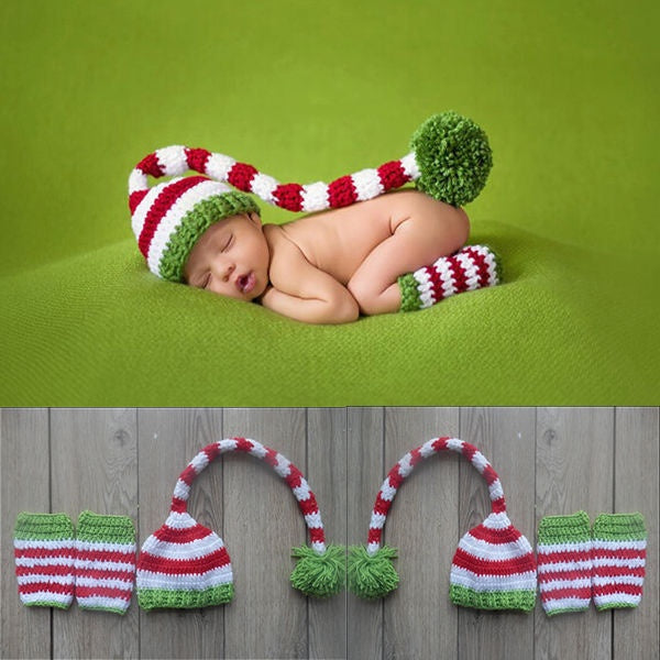 Christmas Design Baby Hat + Leg Set Handmade Costume Knitted Newborn Long Tail Crochet Photography Props Newborn Hats 0-6months