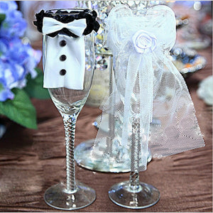 2Pcs Cute Bride & Groom Bow Tux Bridal Veil Wedding Party Toasting Wine Glasses Decor