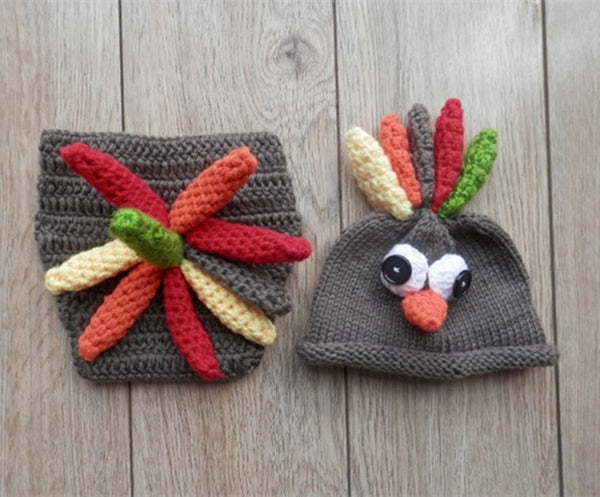 Newborn baby boys girl cute animal turkey cockscomb hat diaper tails crochet knitted baby christmas photo prop costume outfits g