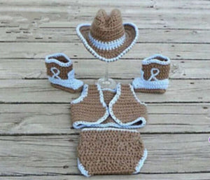 Fashion Newborn Photography Prop Cosplay Outfits Costume Set Cowboy Cute Hat Shoes&Diaper Cover (Size: 0-6m)