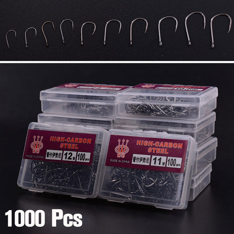 1000Pcs/500PCS 10 Sizes Assorted Fishing Bait Sharpened Hook Fishhook Jig Lures Black