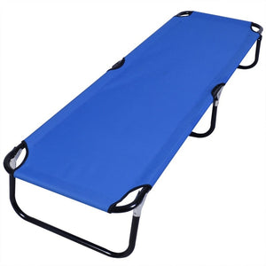 Blue Folding Camping Bed Outdoor Portable Military Cot (Color: Blue)