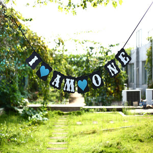 Baby Boy 'I Am One' 1st Birthday Hanging  Banner Decoration