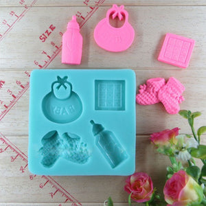 Baby Silicone Mold Fondant Cake Decorating bottle shoes Candy Pastry Mould