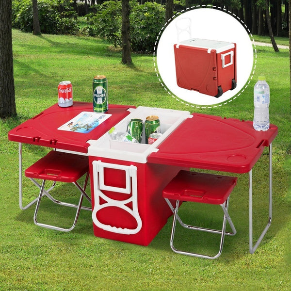 Multi Function Rolling Cooler Picnic Camping w/ Table & 2 Chairs Red (Color: Red)