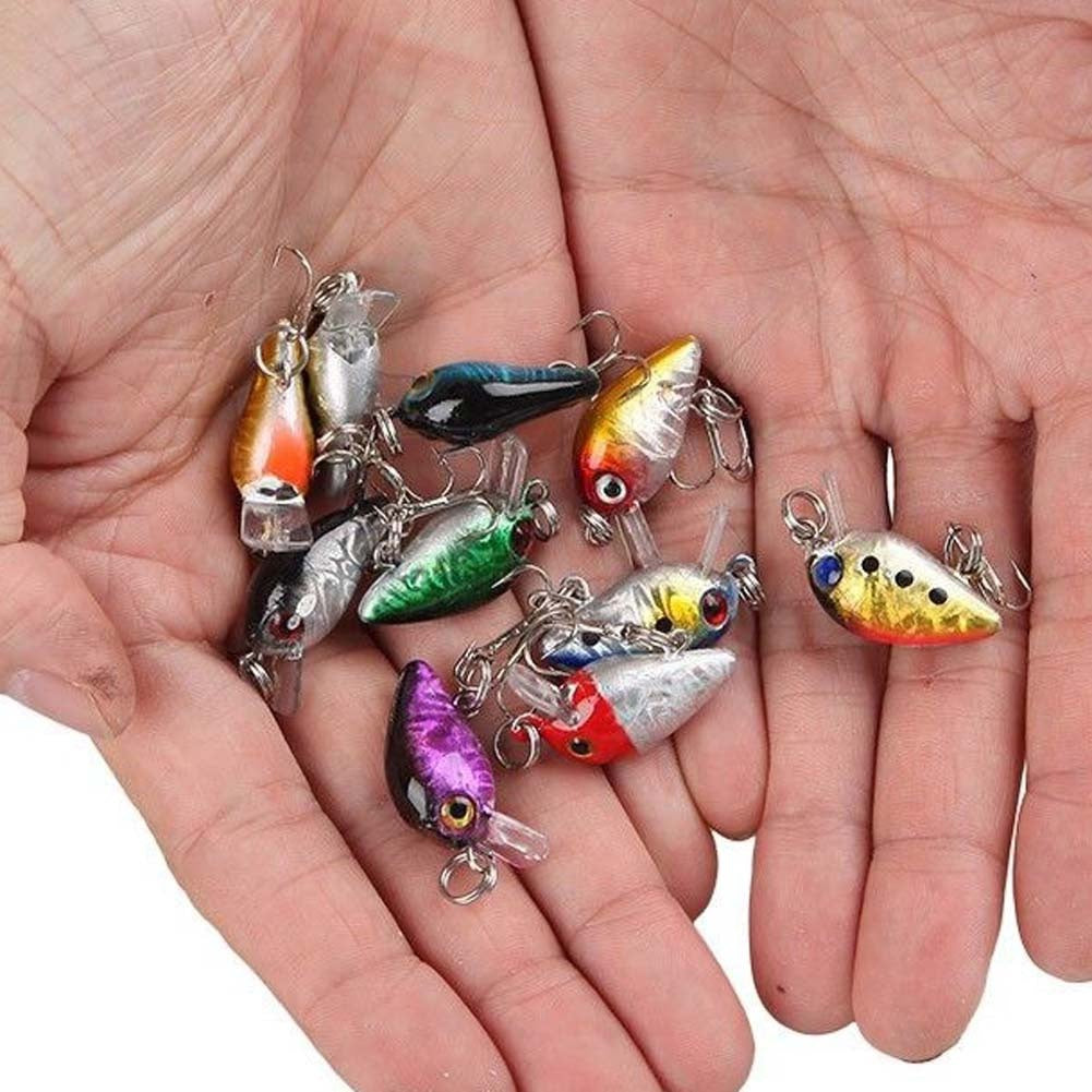 Hot Sale Lot 10Pcs Fishing Lures Kinds Of Minnow Fish Bass Tackle Hooks Baits Crankbait (Size: 2)