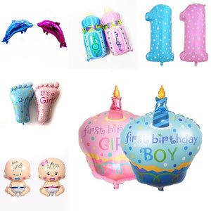 1PC First Birthday Baby Boy/Girl Foil  Balloons Party Decoration Baby Shower Balloons