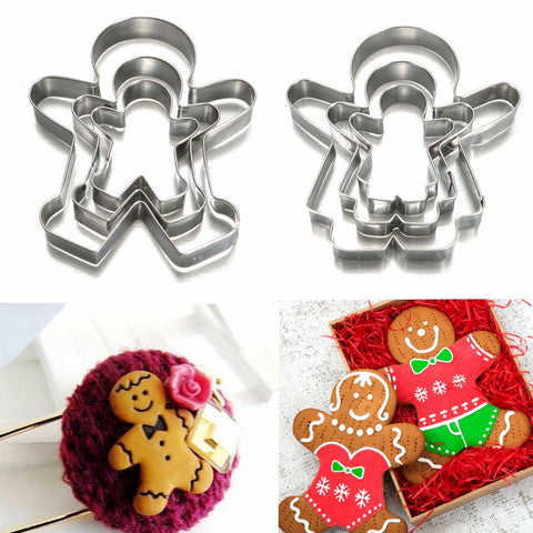 3pcs Ginger Bread Man/Boy and Ginger Bread Woman/Girl Cookie Cutter Sets