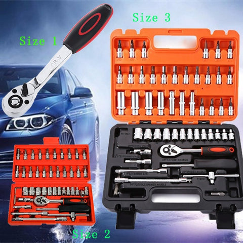 46pcs/53pcs Automobile Motorcycle Repair Tool Case Ratchet Wrench Kit