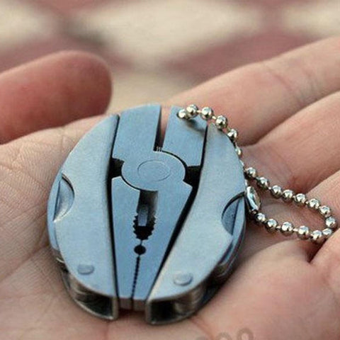 Portable Multi Function Folding Pocket Tool Plier Keychain Screwdriver (Color: Silver)