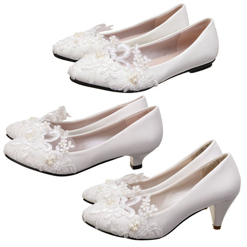 3 cm 5 cm Flat Heel Lvory Pearl Flower Wedding Lace Prom Bridal Bridesmaid Low Heels Shoes