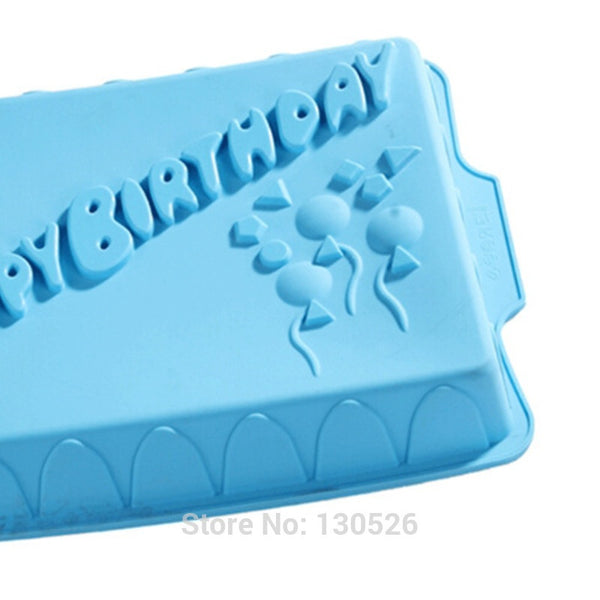 Rectangle Happy Birthday Silicone Cake Mold Bakeware