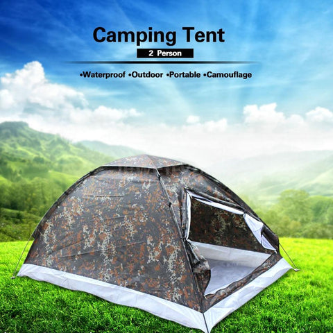 Lightweight Water Resistant 2 Person Single Layer Tent for Camping Hiking (Size: 200cm * 130cm * 110cm, Color: Camouflage)