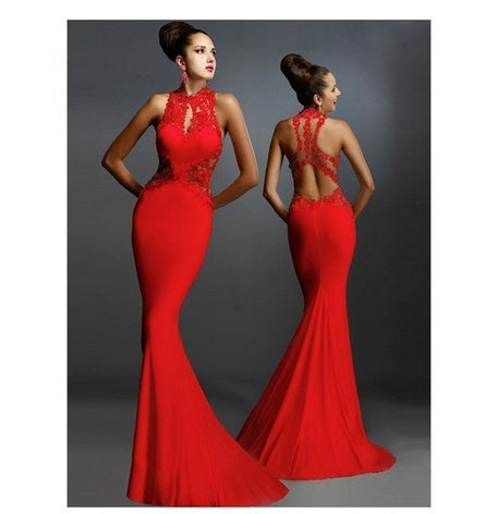 Women Fashion Sleeveless Slim Decal Stitching Sexy Fishtail Skirt Evening Package Hip Dress