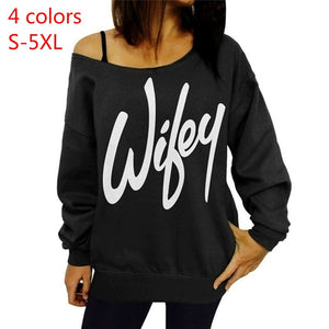 Fashion Wifey Print Women's Off Shoulder Long Sleeve Sweatshirt