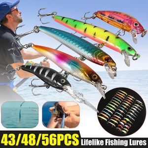 43/48/56PCS Mixed Models Fishing Lures Set Minnow Lure Crank Baits Tackle Treble Hooks Kit