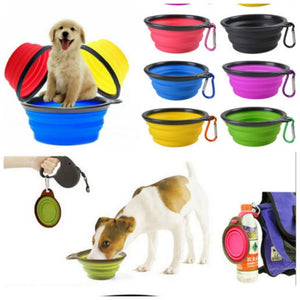 1Pcs Foldable Silicone Dog Bowl Water Bottles For Outdoor Travel Portable Collapsible Puppy Feeding Dishes Water Bowl